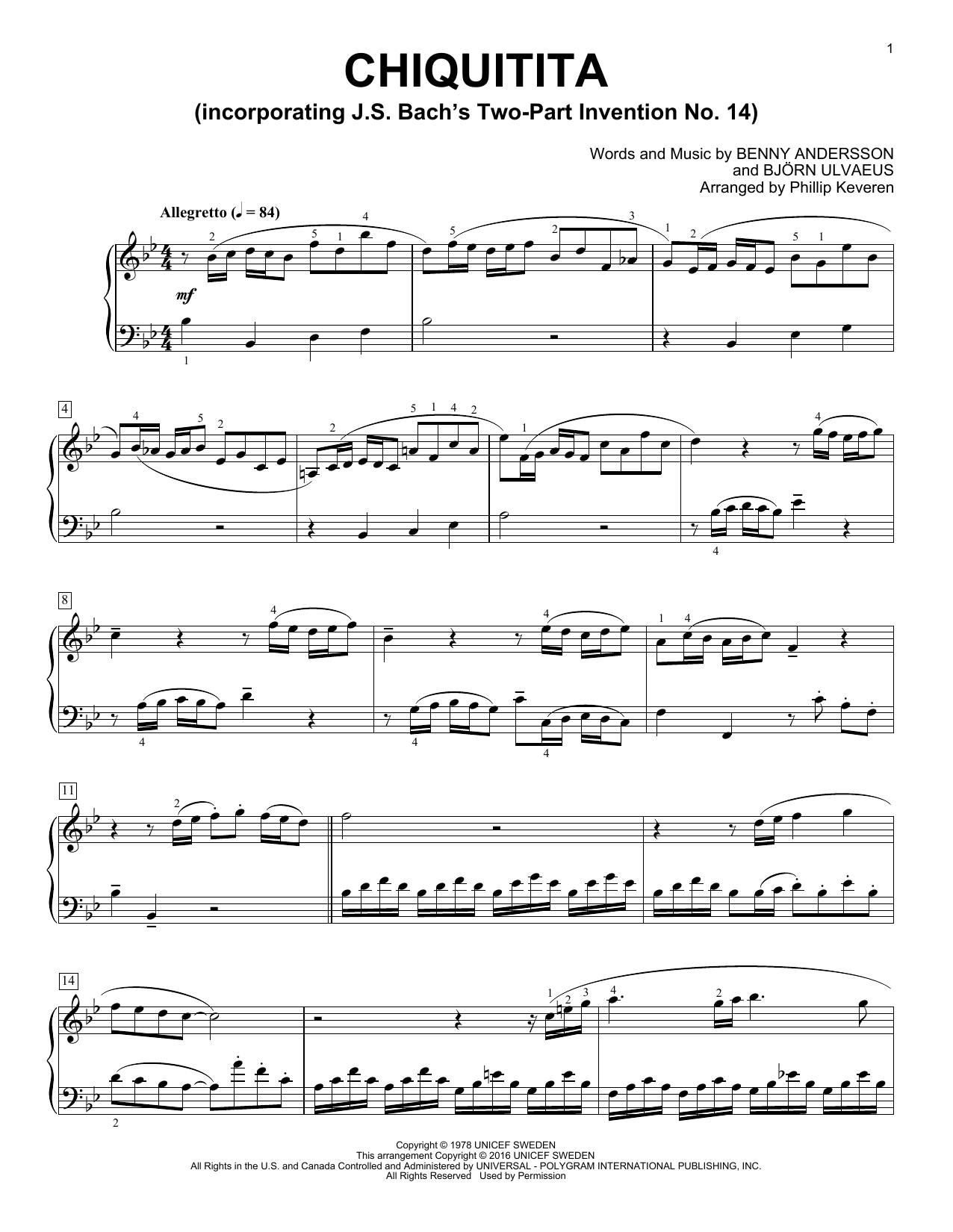 Phillip Keveren Chiquitita sheet music notes and chords