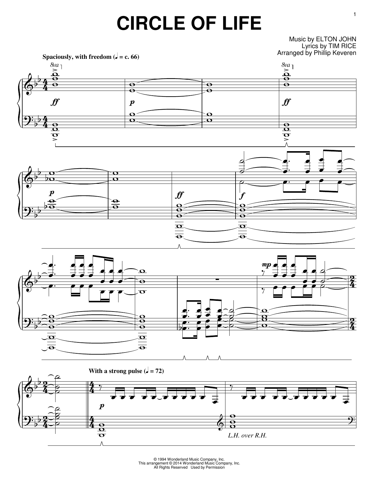 Phillip Keveren Circle Of Life Sheet Music Notes Chords