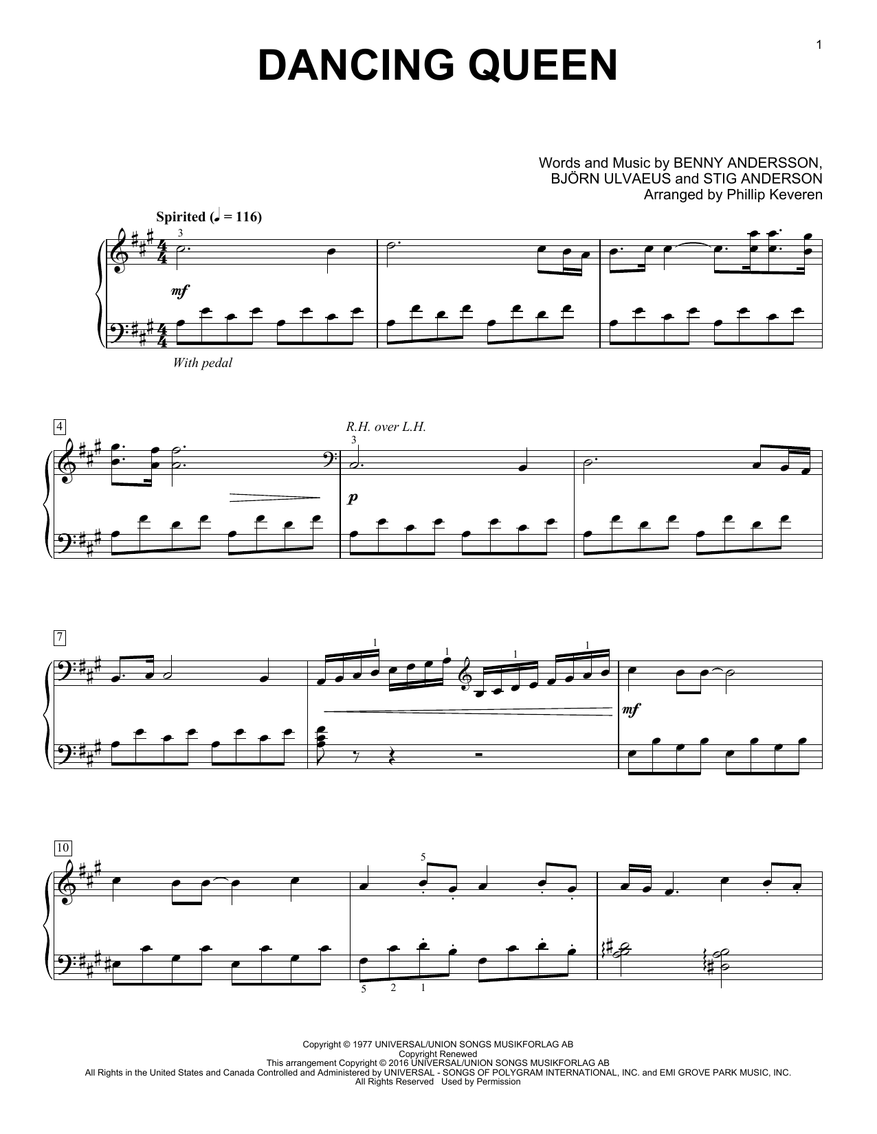 Phillip Keveren Dancing Queen sheet music notes and chords. Download Printable PDF.