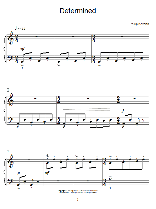Phillip Keveren Determined sheet music notes and chords. Download Printable PDF.