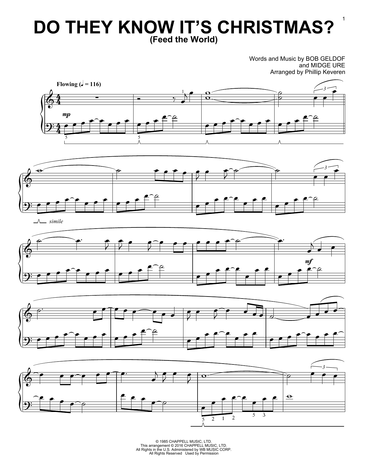Phillip Keveren Do They Know It's Christmas? (Feed The World) sheet music notes and chords