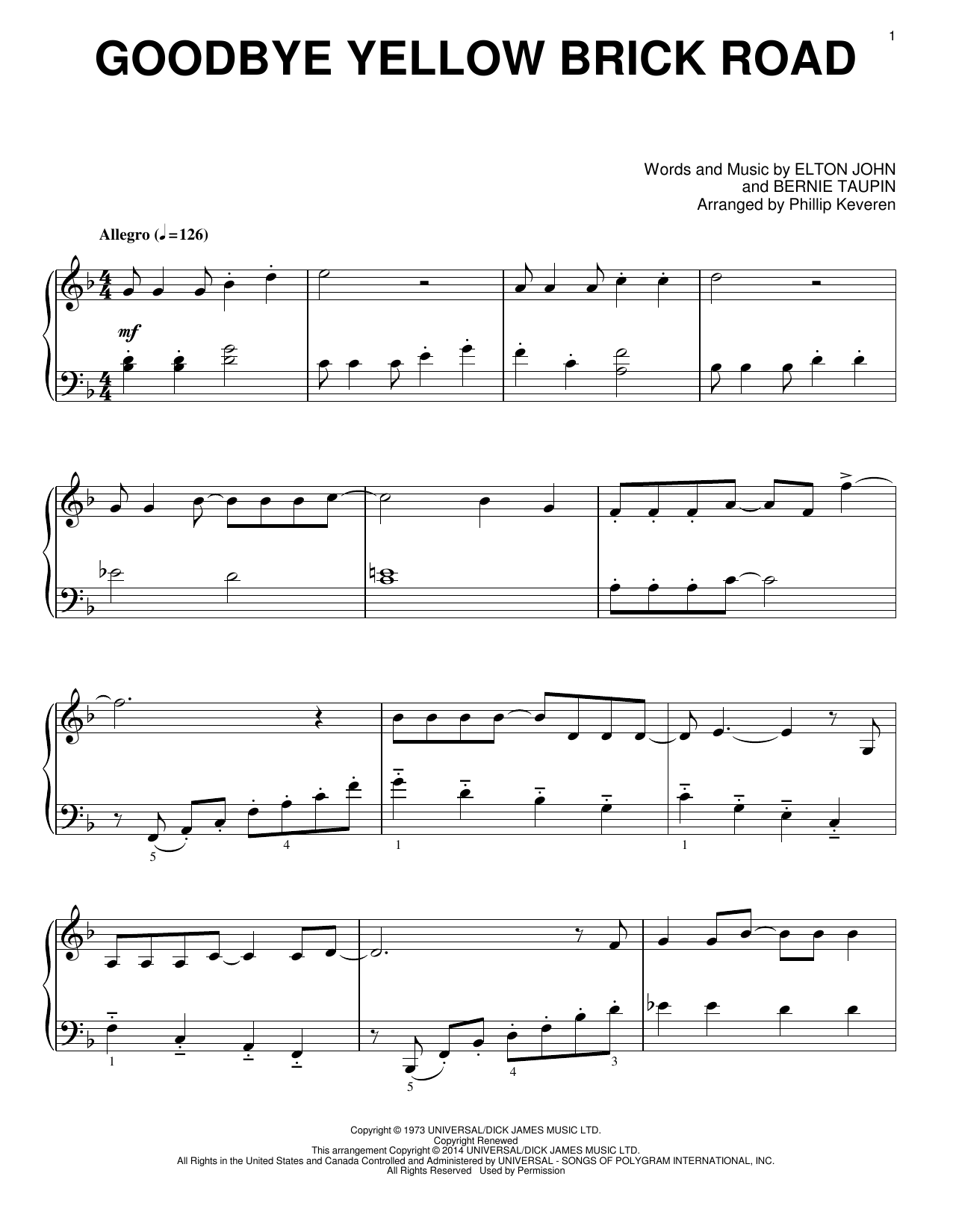 Phillip Keveren Goodbye Yellow Brick Road sheet music notes and chords
