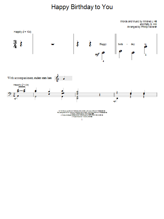 Phillip Keveren Happy Birthday To You sheet music notes and chords. Download Printable PDF.