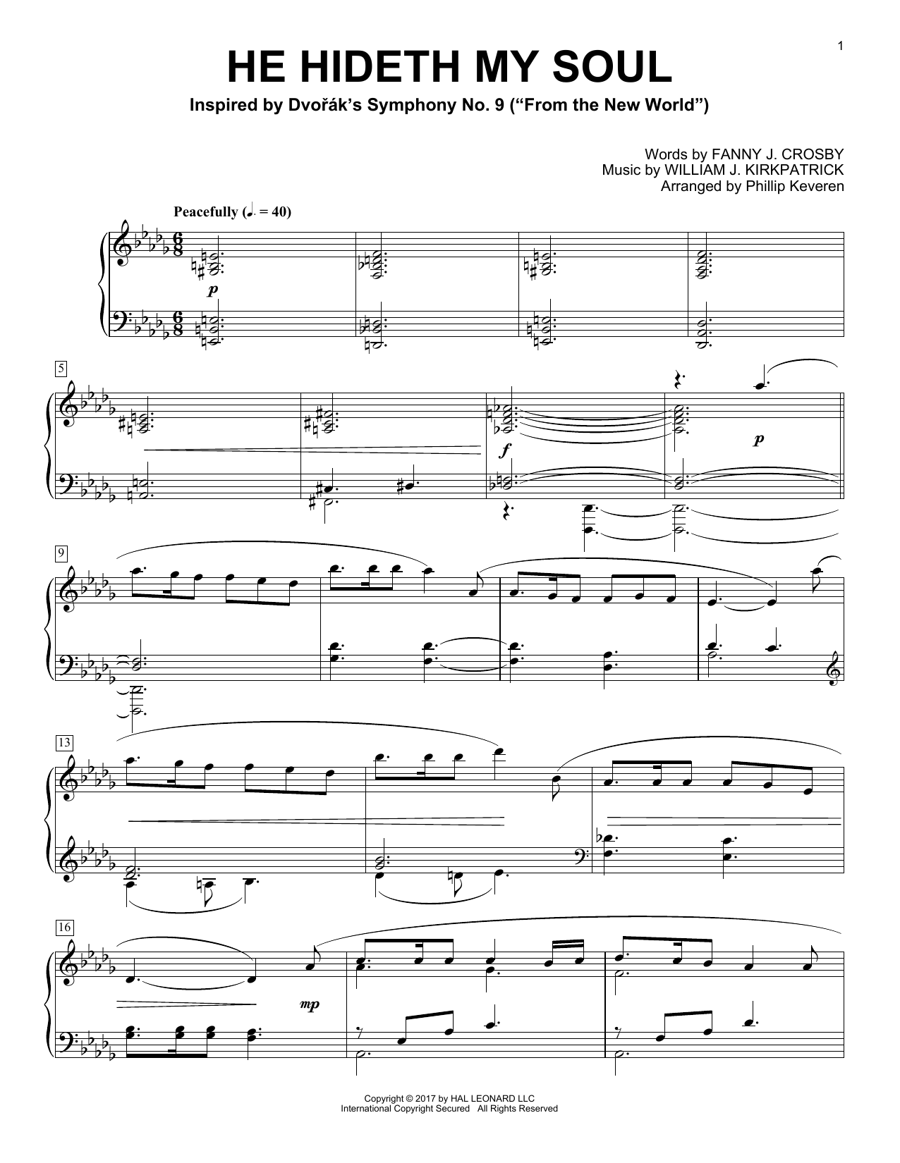 Phillip Keveren He Hideth My Soul sheet music notes and chords. Download Printable PDF.