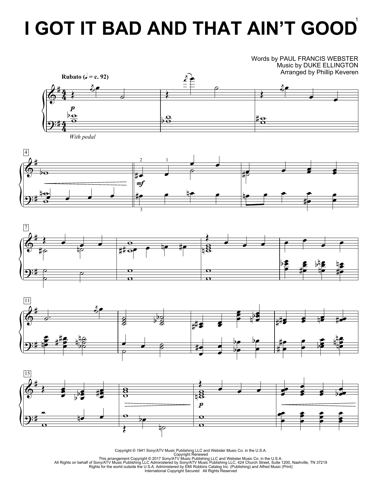 Phillip Keveren I Got It Bad And That Ain't Good sheet music notes and chords. Download Printable PDF.