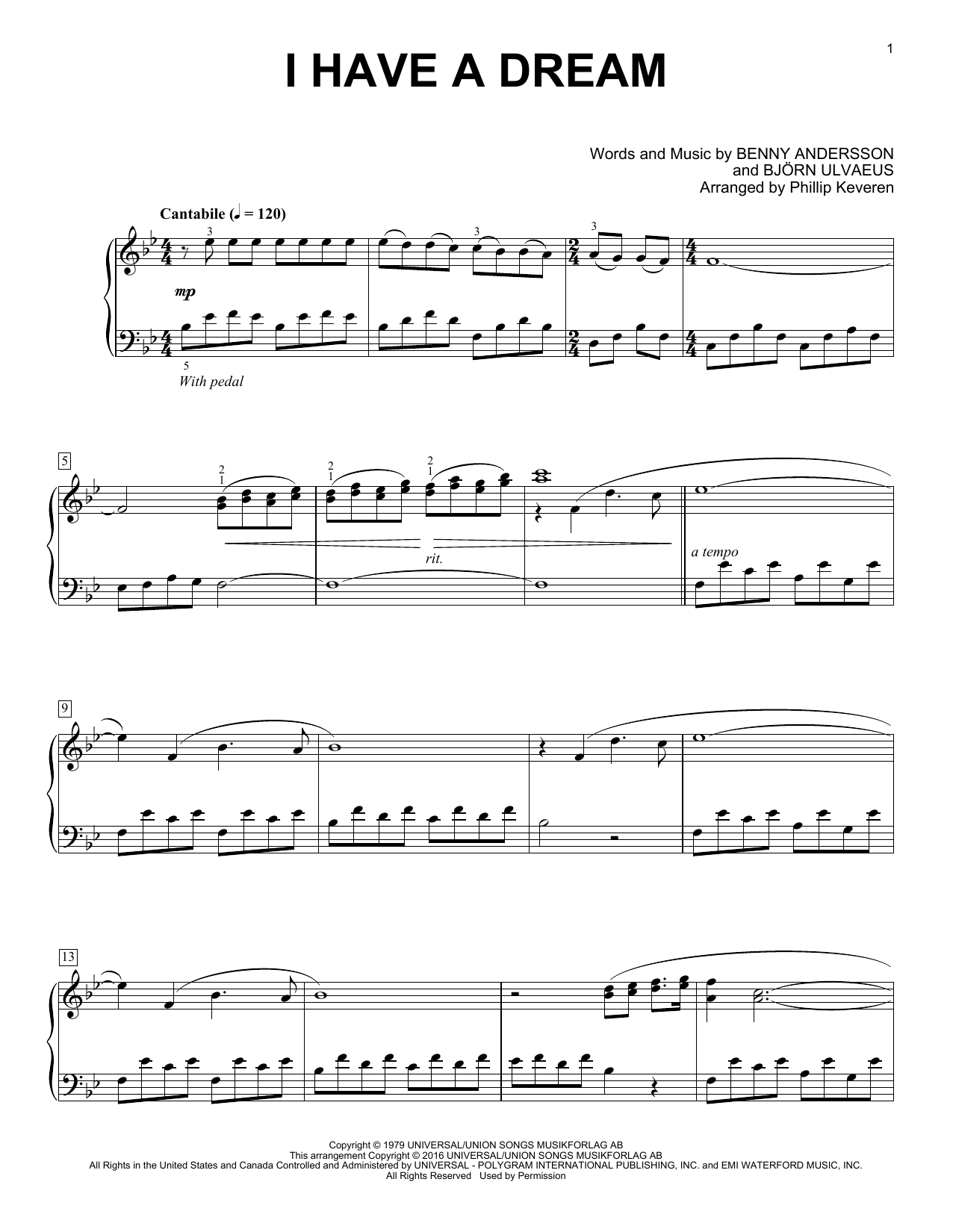 Phillip Keveren I Have A Dream sheet music notes and chords. Download Printable PDF.