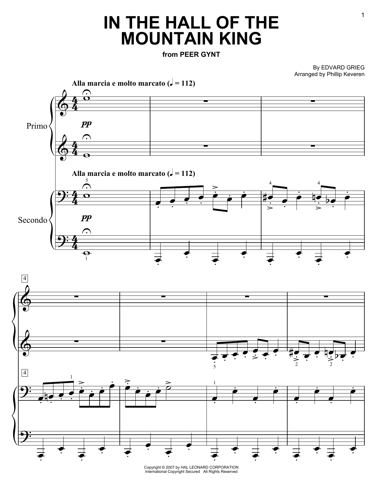 Phillip Keveren In The Hall Of The Mountain King sheet music notes and chords