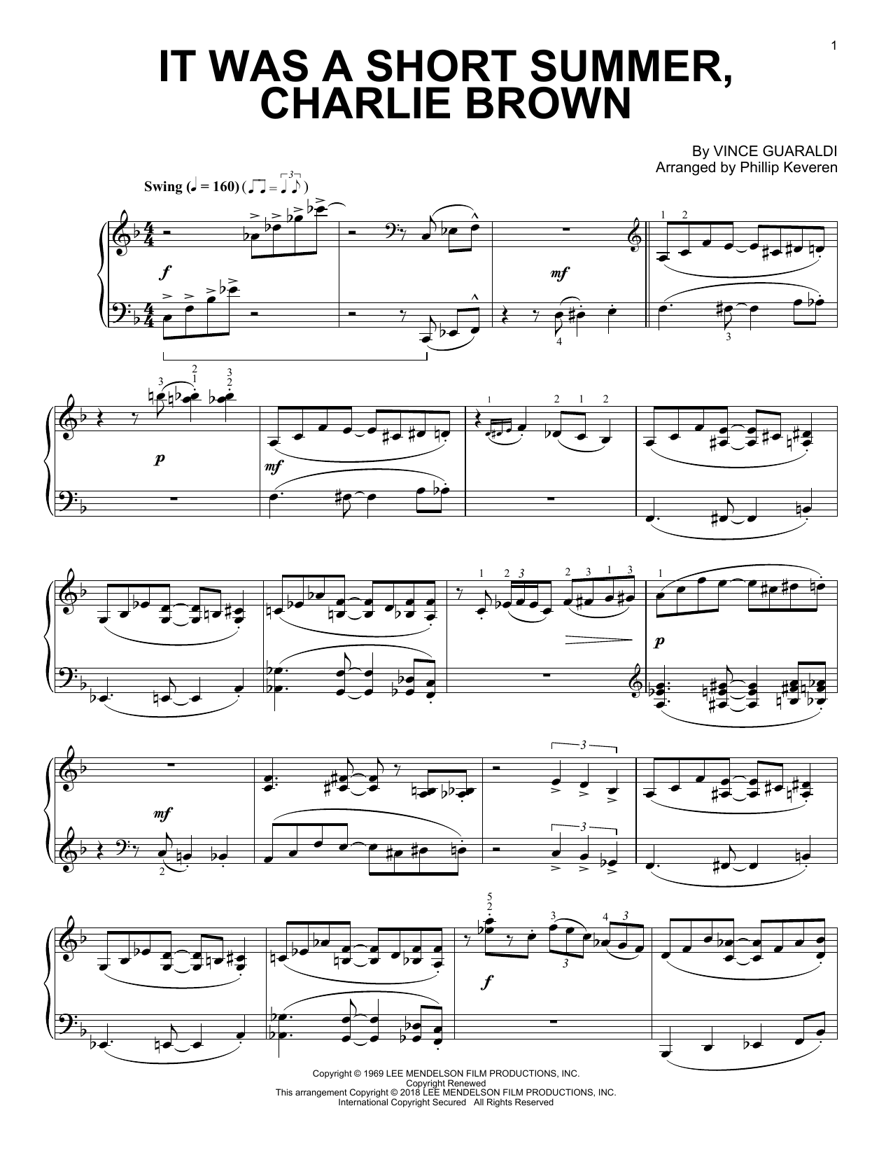 Phillip Keveren It Was A Short Summer, Charlie Brown sheet music notes and chords. Download Printable PDF.