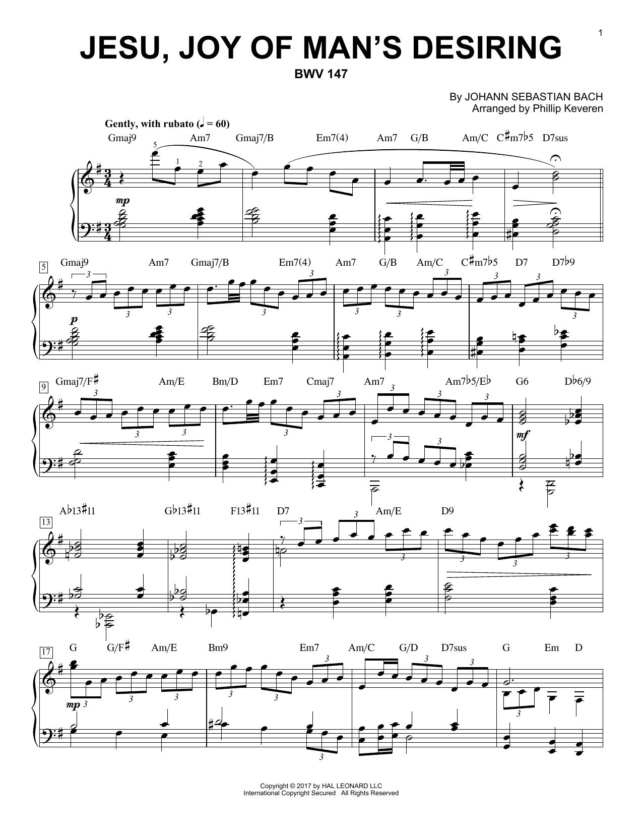 Phillip Keveren Jesu, Joy Of Man's Desiring, BWV 147 sheet music notes and chords