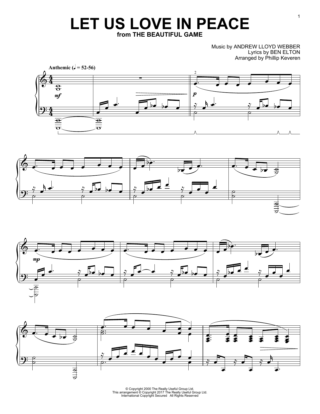 Phillip Keveren Let Us Love In Peace sheet music notes and chords. Download Printable PDF.