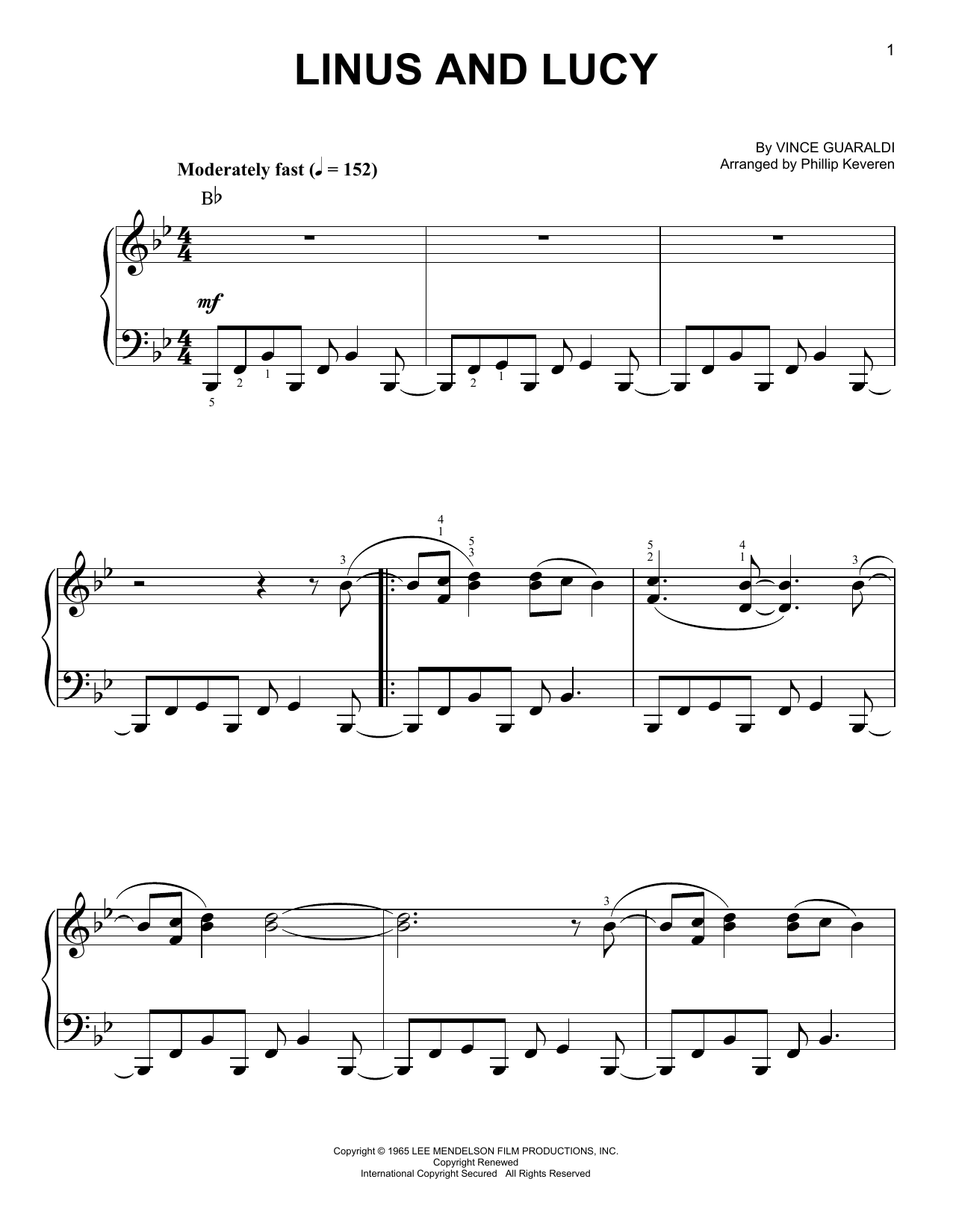 Phillip Keveren Linus And Lucy sheet music notes and chords. Download Printable PDF.