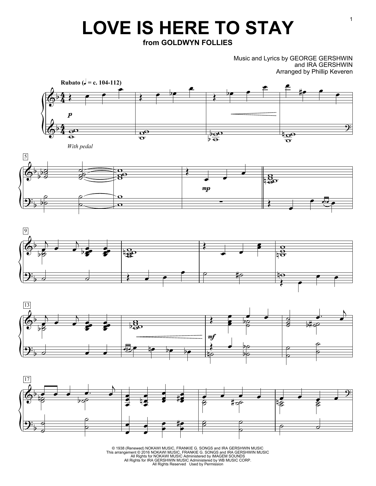 Phillip Keveren Love Is Here To Stay sheet music notes and chords. Download Printable PDF.