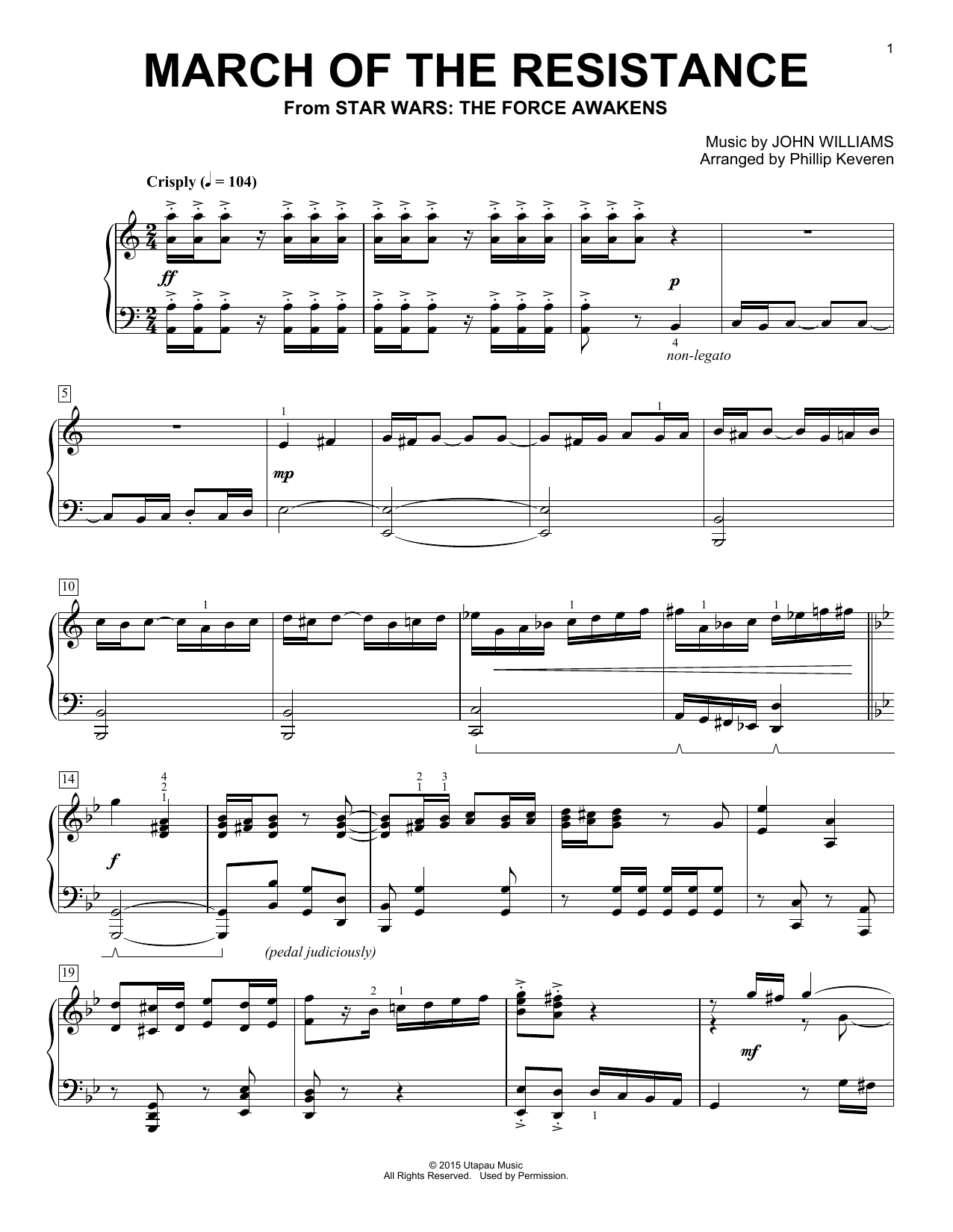 Phillip Keveren March Of The Resistance sheet music notes and chords. Download Printable PDF.