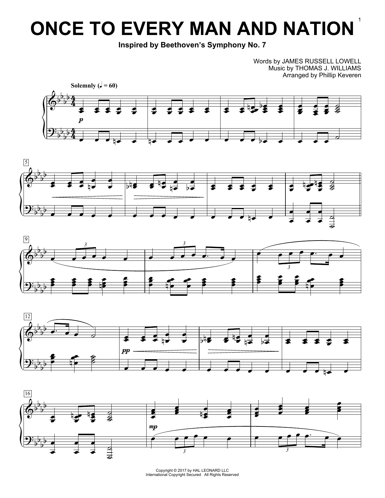 Phillip Keveren Once To Every Man And Nation sheet music notes and chords. Download Printable PDF.