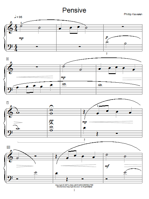 Phillip Keveren Pensive sheet music notes and chords
