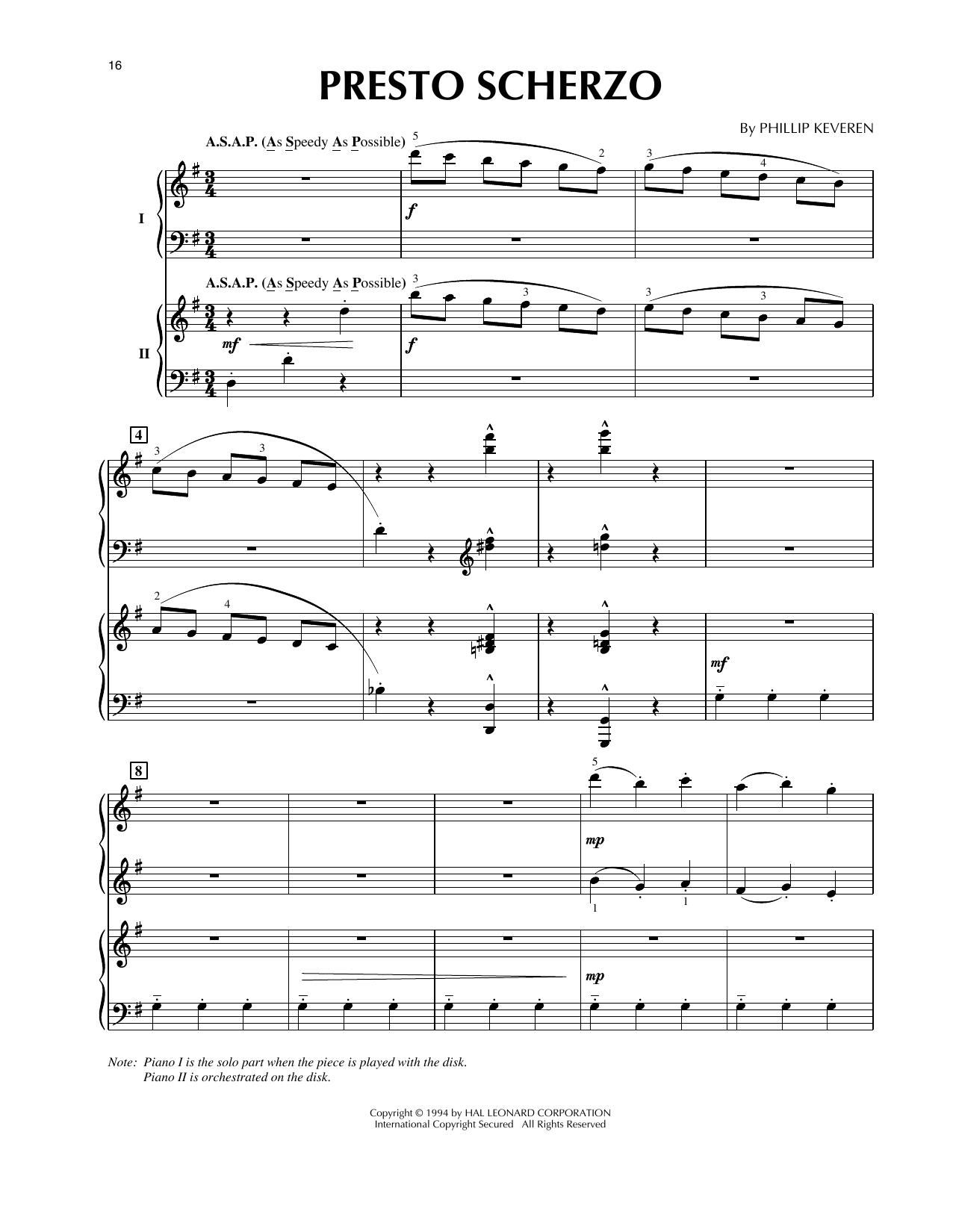 Phillip Keveren Presto Scherzo (from Presto Scherzo) (for 2 pianos) sheet music notes and chords