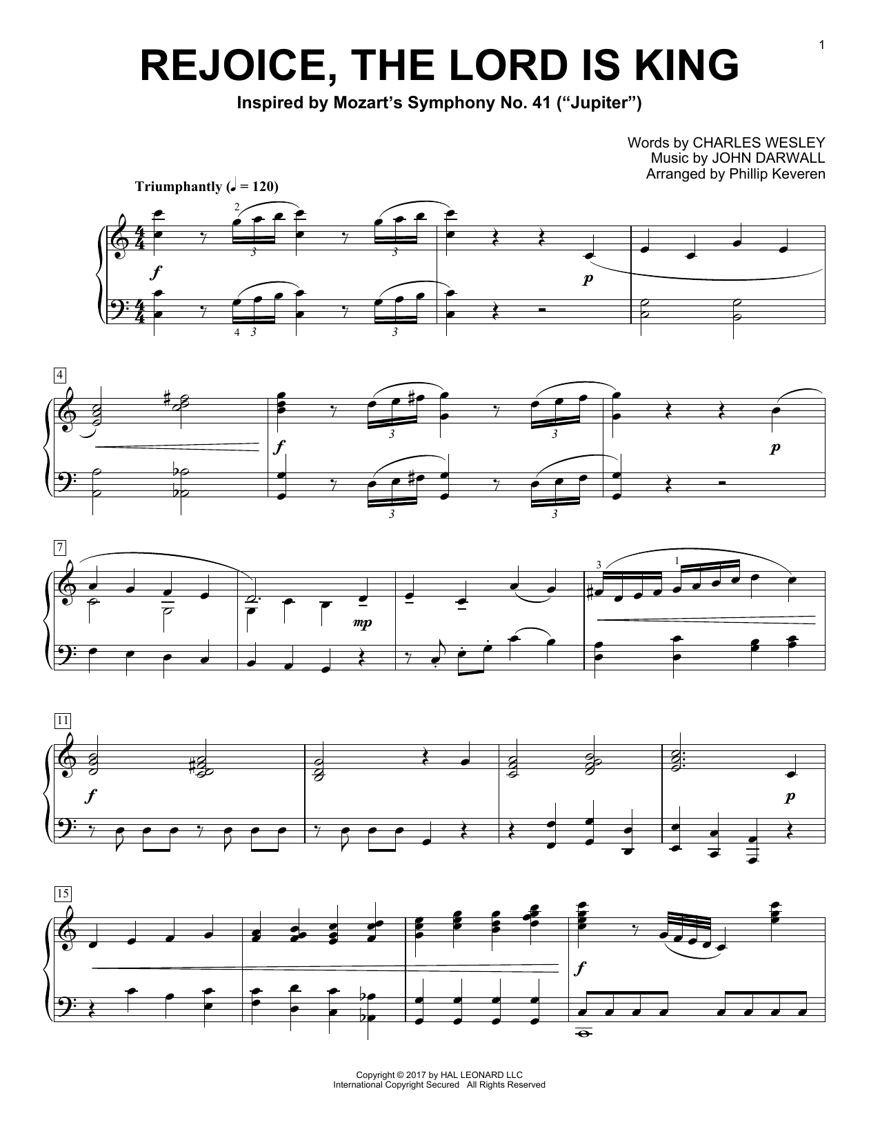 Phillip Keveren Rejoice, The Lord Is King sheet music notes and chords. Download Printable PDF.