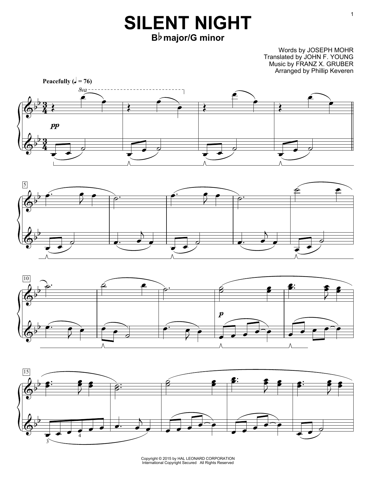 Phillip Keveren Silent Night sheet music notes and chords