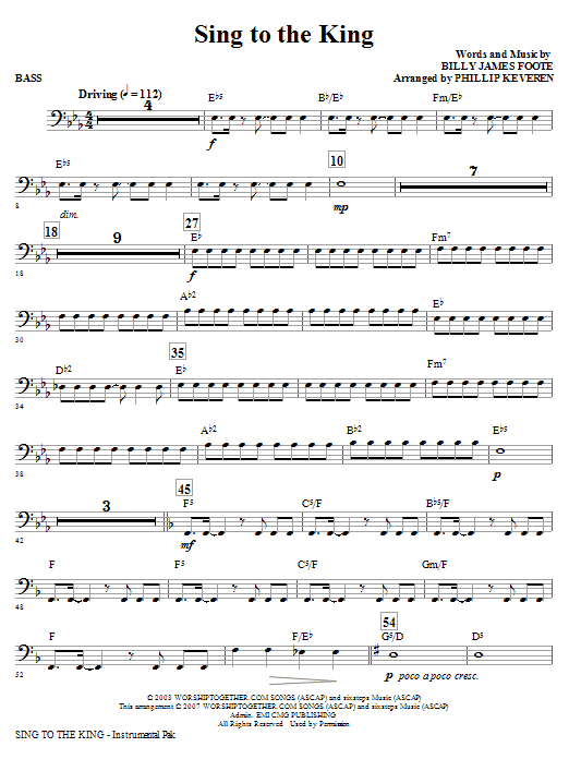 Phillip Keveren Sing To The King - Bass sheet music notes and chords. Download Printable PDF.
