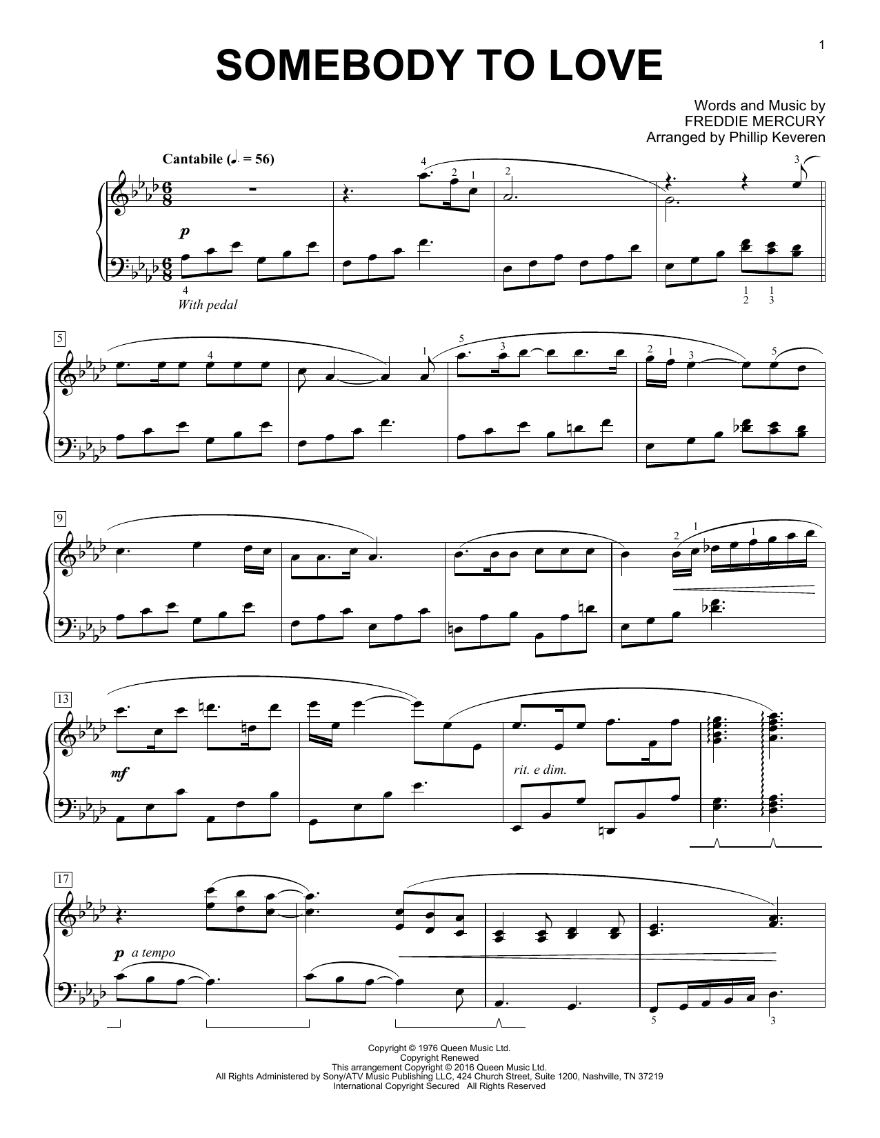 Phillip Keveren Somebody To Love sheet music notes and chords