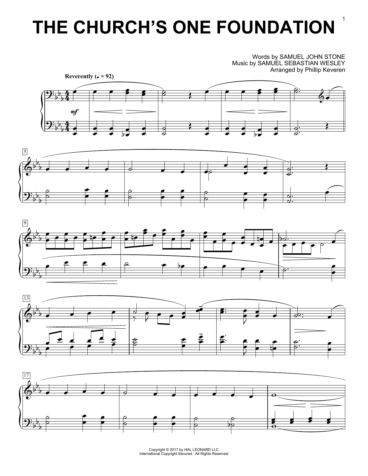 Phillip Keveren The Church's One Foundation sheet music notes and chords