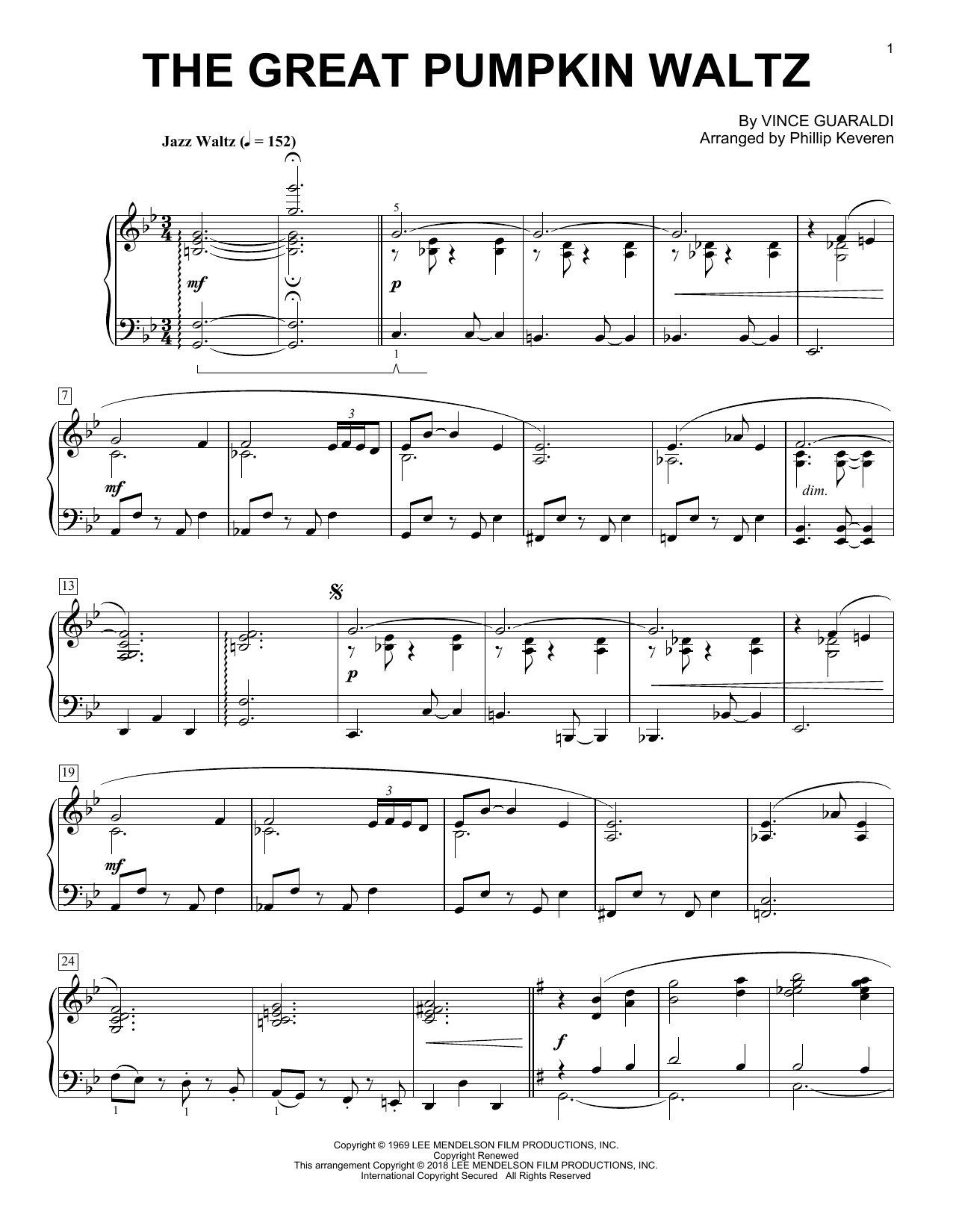 Phillip Keveren The Great Pumpkin Waltz sheet music notes and chords. Download Printable PDF.