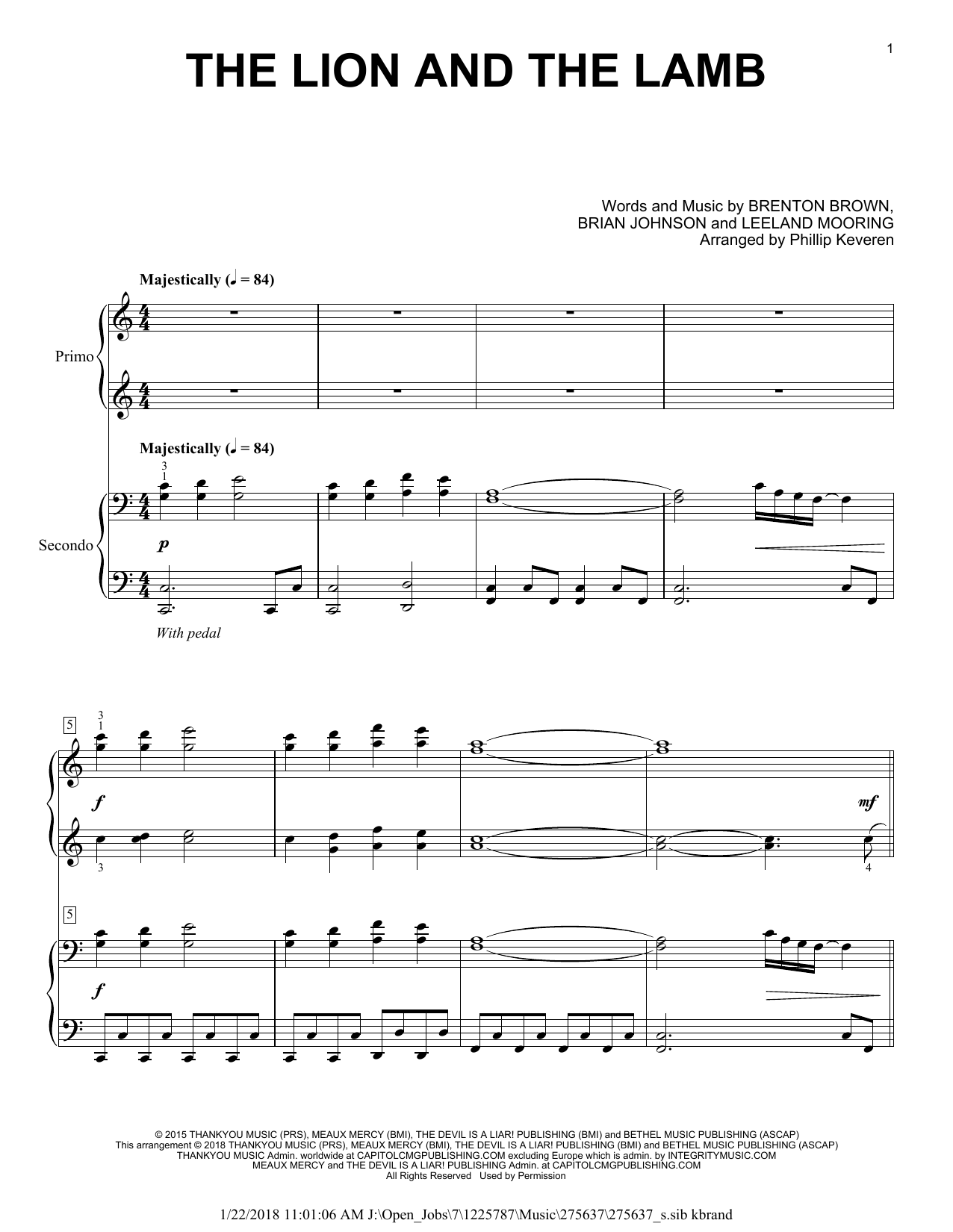 Phillip Keveren The Lion And The Lamb Sheet Music Notes, Chords   Download  Printable Piano Duet PDF Score   SKU 15