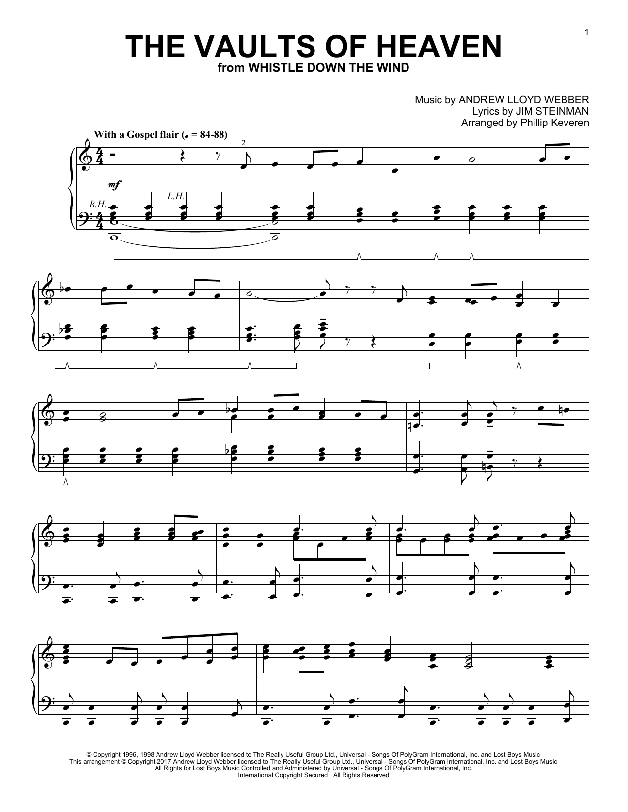 Phillip Keveren The Vaults Of Heaven sheet music notes and chords. Download Printable PDF.