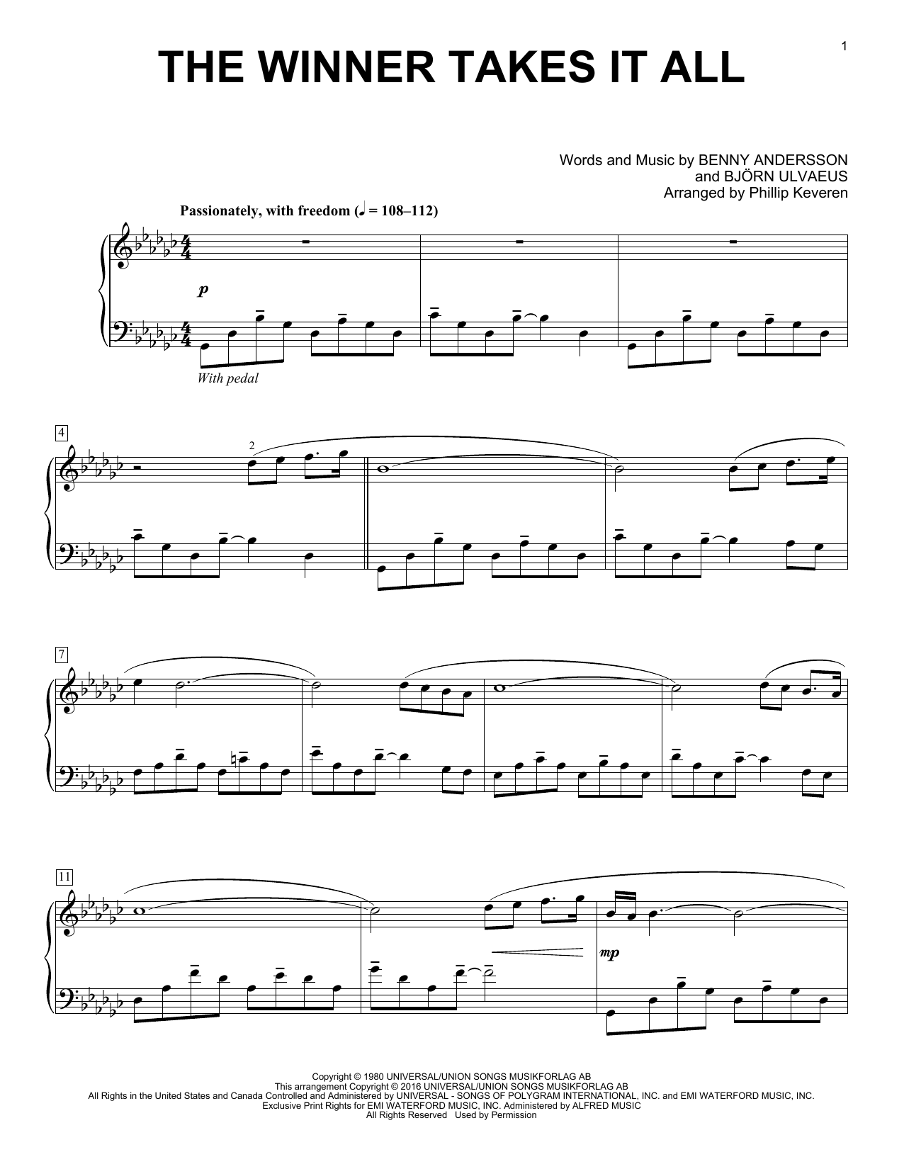 Phillip Keveren The Winner Takes It All sheet music notes and chords. Download Printable PDF.