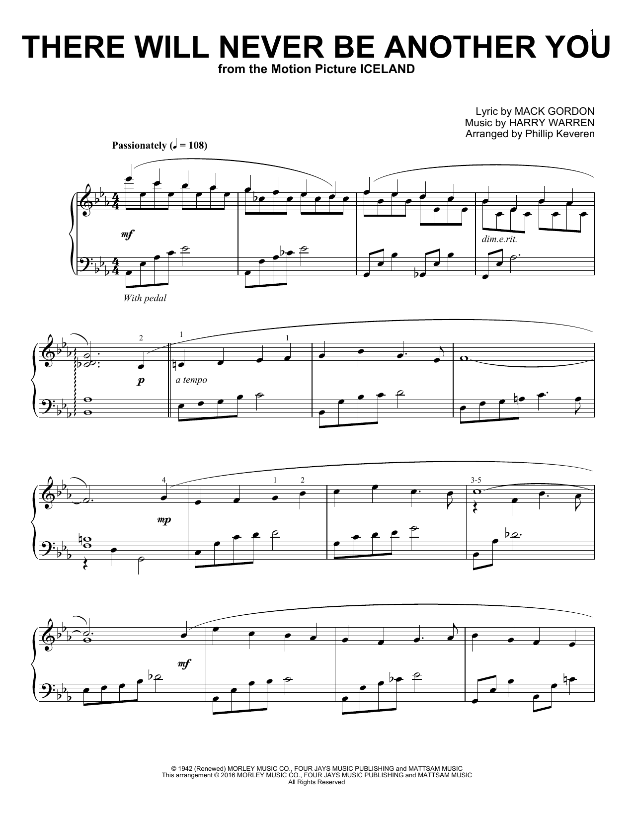Phillip Keveren There Will Never Be Another You sheet music notes and chords. Download Printable PDF.