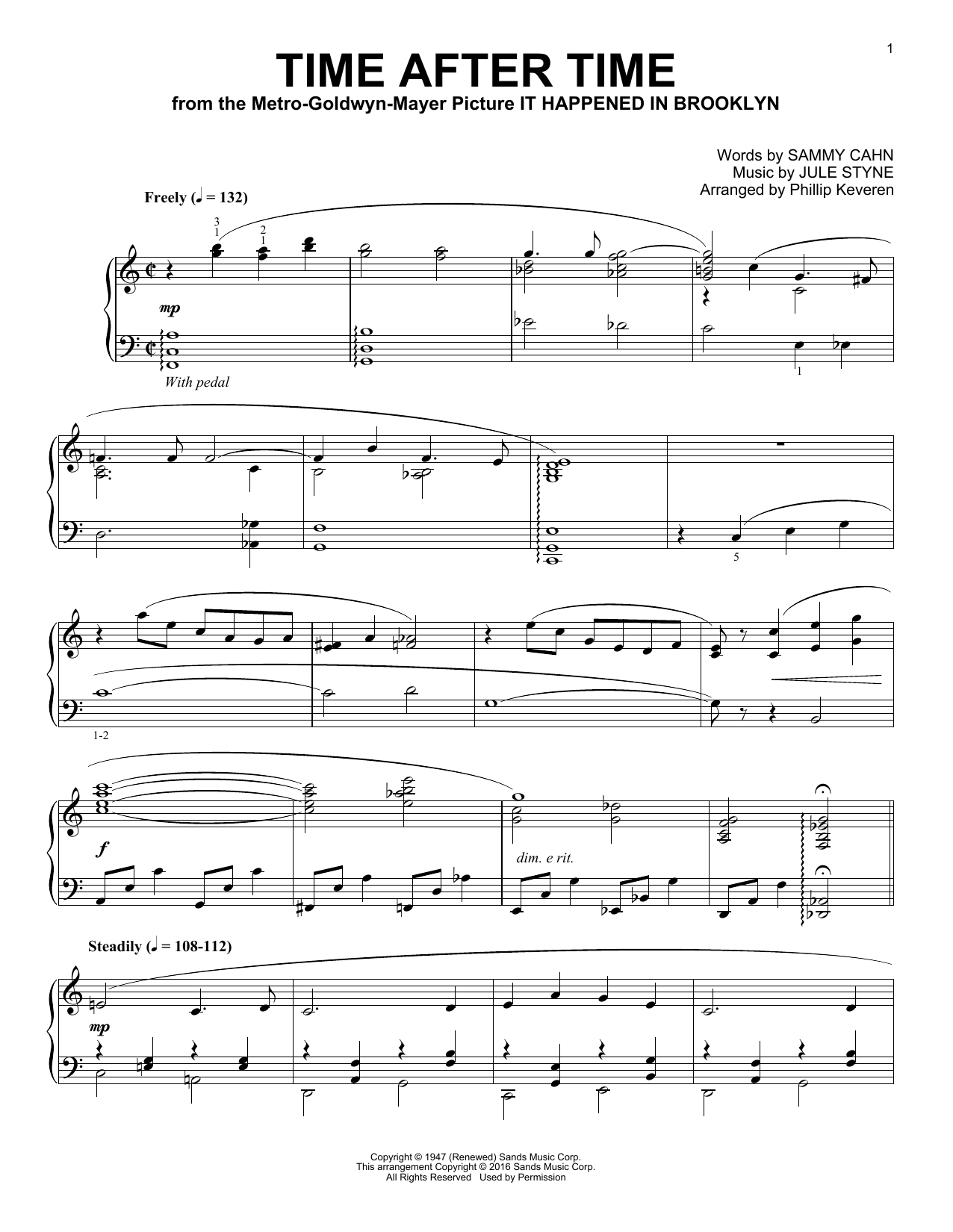 Phillip Keveren Time After Time sheet music notes and chords