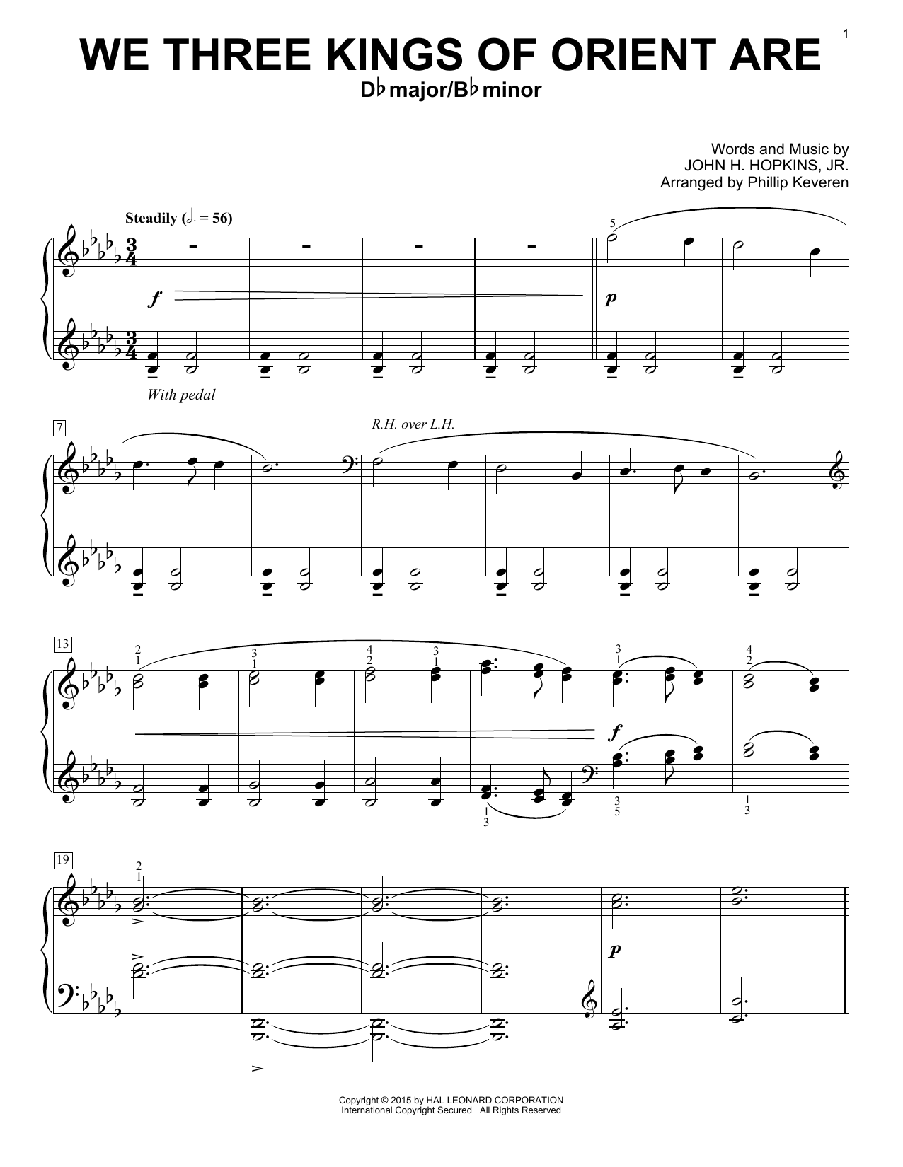 Phillip Keveren We Three Kings Of Orient Are sheet music notes and chords. Download Printable PDF.