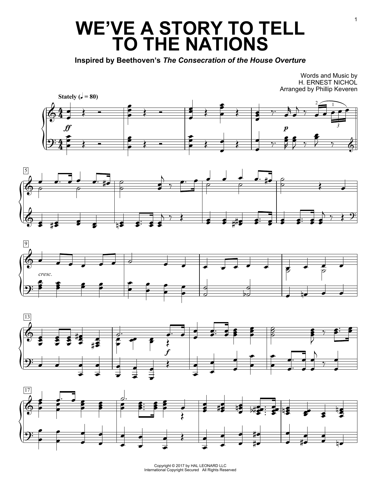 Phillip Keveren We've A Story To Tell To The Nations sheet music notes and chords