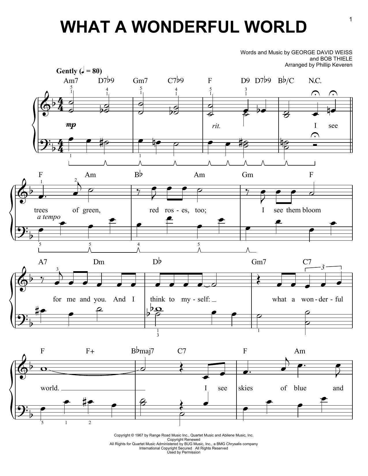 Phillip Keveren What A Wonderful World Sheet Music Pdf Notes Chords Pop Score Easy Piano Download Printable Sku 152950