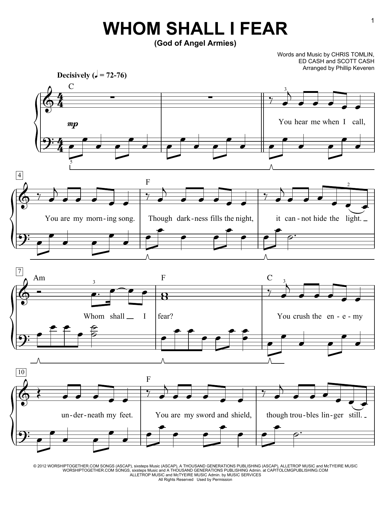 Phillip Keveren Whom Shall I Fear (God Of Angel Armies) sheet music notes and chords. Download Printable PDF.