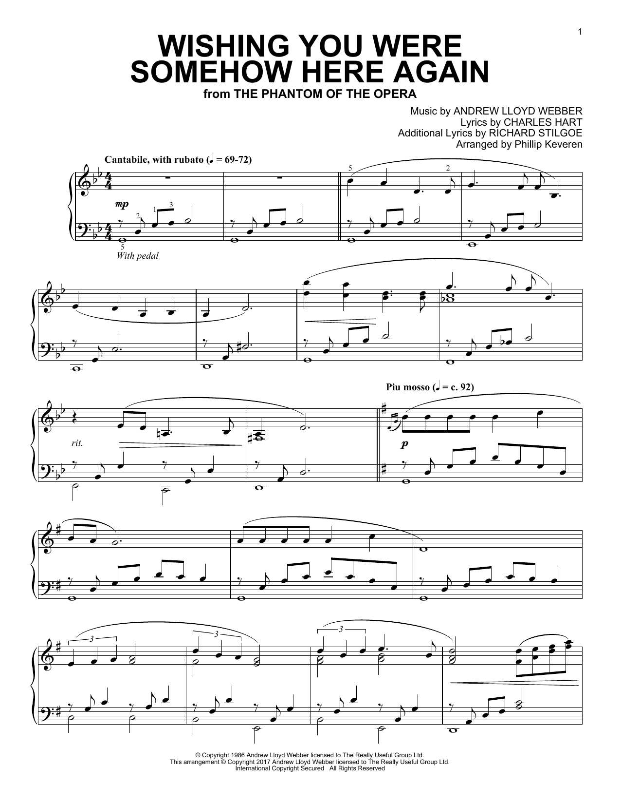 Phillip Keveren Wishing You Were Somehow Here Again sheet music notes and chords