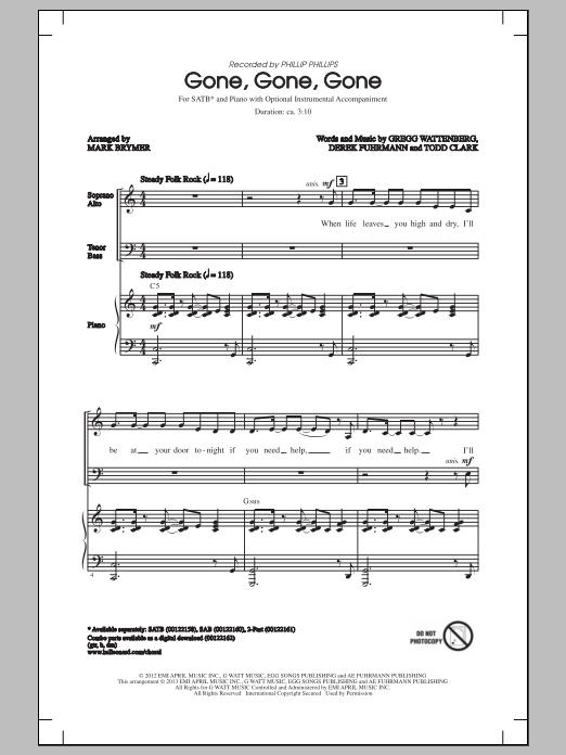 Phillip Phillips Gone, Gone, Gone (arr. Mark Brymer) sheet music notes and chords. Download Printable PDF.