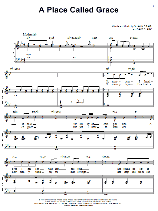 Phillips, Craig & Dean A Place Called Grace sheet music notes and chords. Download Printable PDF.