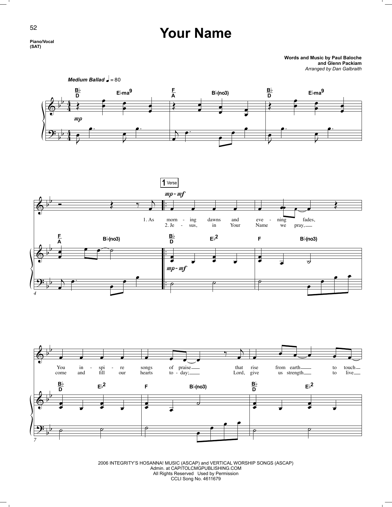 Phillips, Craig & Dean Your Name sheet music notes and chords. Download Printable PDF.