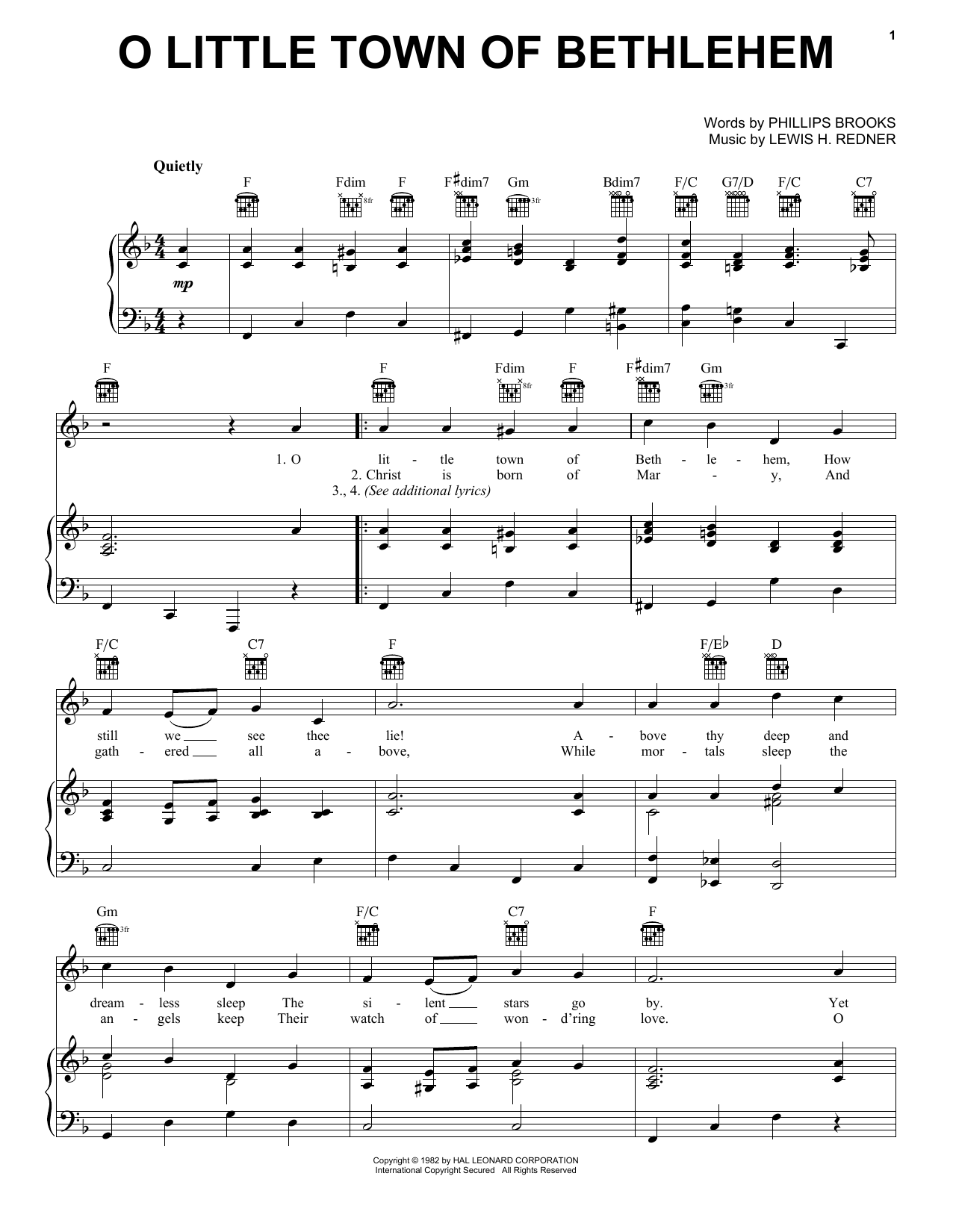 Phillips Brooks O Little Town Of Bethlehem sheet music notes and chords. Download Printable PDF.