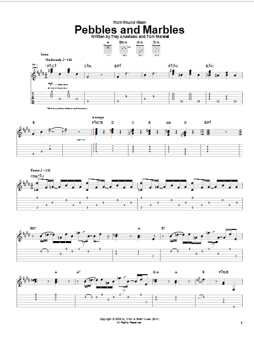 Phish Pebbles And Marbles sheet music notes and chords. Download Printable PDF.