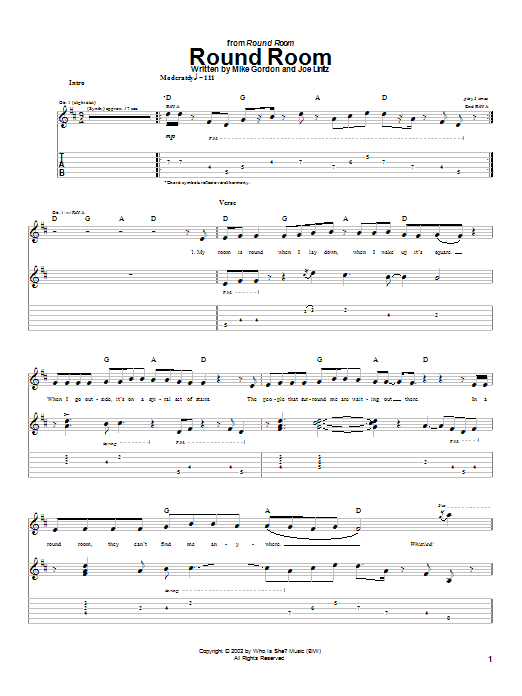 Phish Round Room sheet music notes and chords. Download Printable PDF.