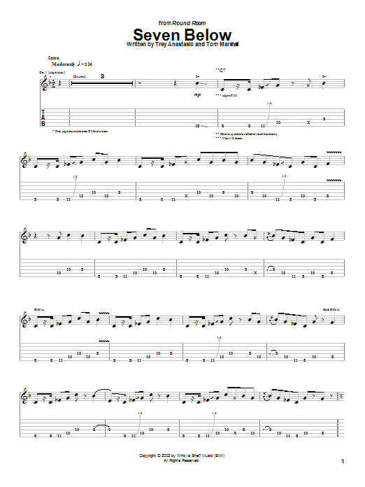 Phish Seven Below sheet music notes and chords. Download Printable PDF.