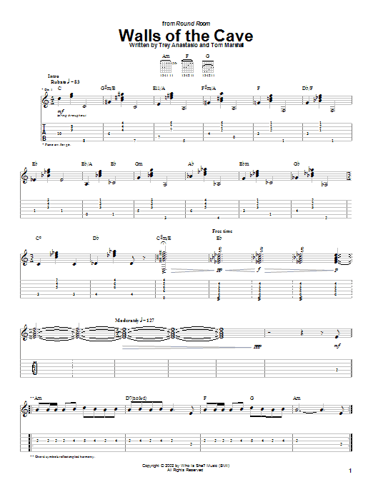 Phish Walls Of The Cave sheet music notes and chords. Download Printable PDF.