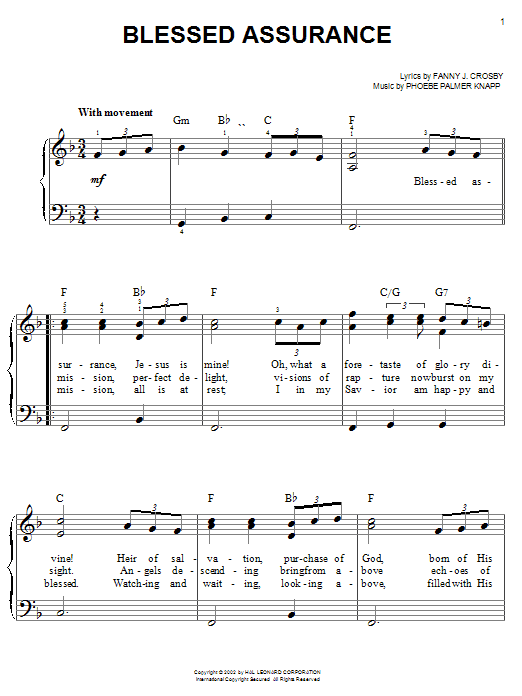 Phoebe P. Knapp Blessed Assurance sheet music notes and chords