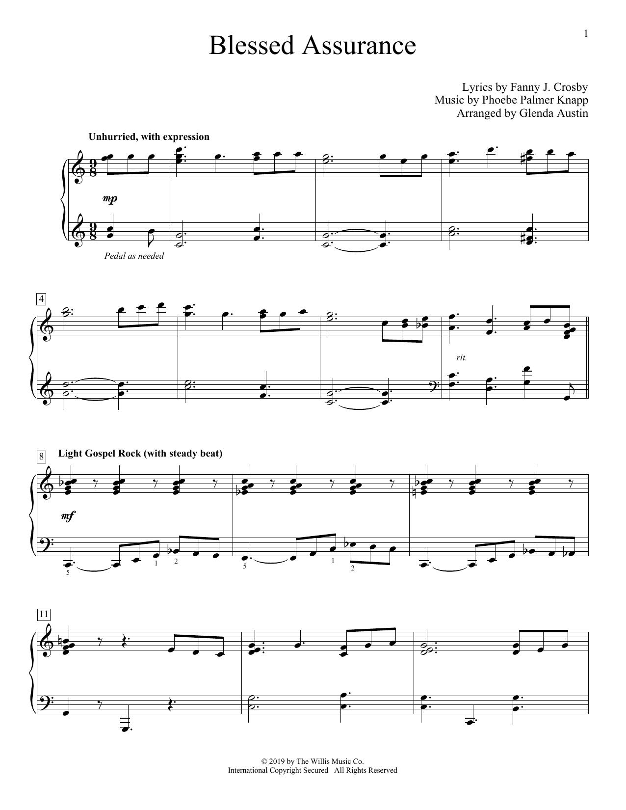 Phoebe Palmer Knapp Blessed Assurance (arr. Glenda Austin) sheet music notes and chords