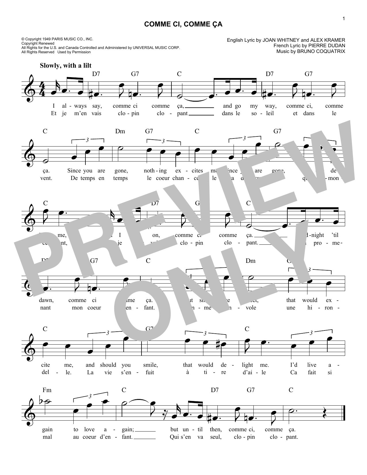 Pierre Dudan (orig. French) Comme Ci, Comme Ca sheet music notes and chords. Download Printable PDF.