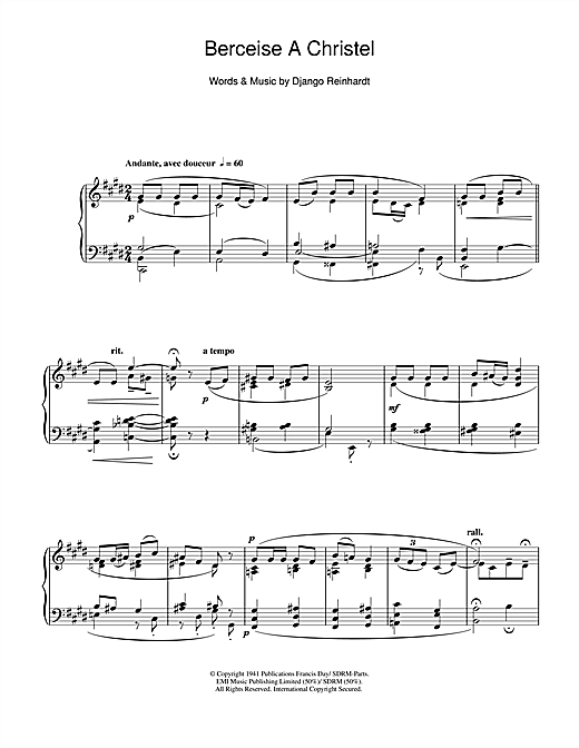 Pierre Villette Berceuse A Christel sheet music notes and chords. Download Printable PDF.