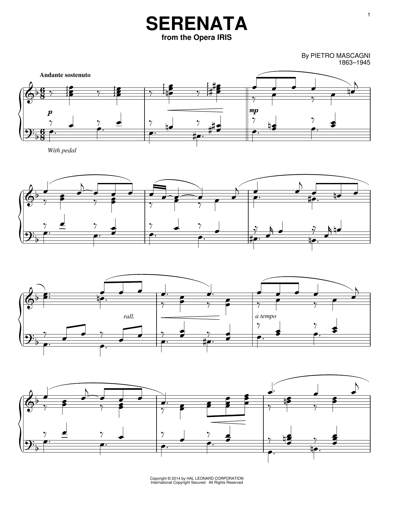 Pietro Mascagni Serenata sheet music notes and chords. Download Printable PDF.