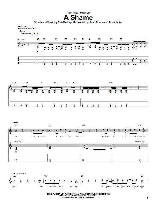 Pillar A Shame sheet music notes and chords. Download Printable PDF.
